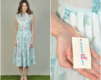 1950s Jeanne D'Arc Blue Butterfly Print cotton dress  | vintage 1950s dress | butterfly print 50s dress