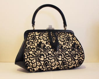 ROMANTIC vintage black and white 50ies style handbag with lace
