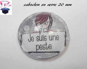 1 cabochon clear 20mm girl theme
