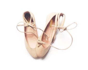 VEGAN Nude Ballet Flats - Personalized - Rose Quartz Ballerinas - Faux Suede Textile - 100% Vegan Friendly - Mina Shoes Mexico