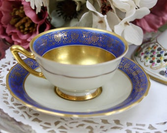 Art Nouveau Teacup, Blue and Gold Teacup, Teacup and Saucer, Teacup Set, Bavarian Teacup, Thomas Germany, c1940s, Vintage Tea Party