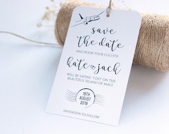 Save the Date Tag, Save the Date Luggage Tag, Rustic Save the Date Card, Rustic Wedding Tag, Destination Wedding Save the Date