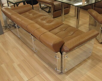 Vintage Saporiti sofa by Introini 1966 leather and chrome plated