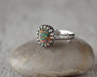 Mexican Fire Opal Ring Sterling Silver - Sparkly Earthtone Fire Opal Handcrafted Artisan Ring  -  Lab Mexican Fire Opal Ring - Earthtones