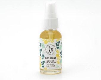 Lemon & Eucalyptus Bug Spray-Natural insect repellent, deet free, natural bug spray, non-toxic bug spray, travel size, 1 fl. Oz. -Handmade