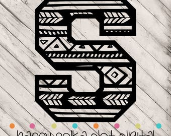 Aztec Letter S SVG digital cutting file for Silhouette Cameo, Cricut Explore, or other personal cutting machines