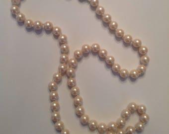 "Vintage Pearls | Vintage Blush Pearl Necklace | Fashion Pearl Necklace | 24"" Blush Pearl Necklace | Free Shipping!"