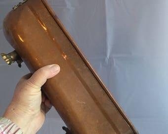 Large Vintage copper planter with ceramic delftware handles. Oblong copper planter planter with delft ceramic handles. Heavy copper planter.