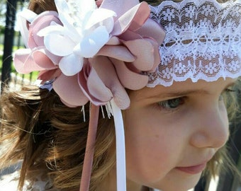 Headdress vintage pink stick and white