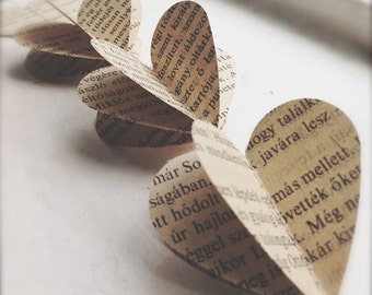 3D Hearts Paper Mobile - Vintage Book- Hungarian-  Wedding Decor - Paper Decoration - Heart Mobile - Paper Mobile