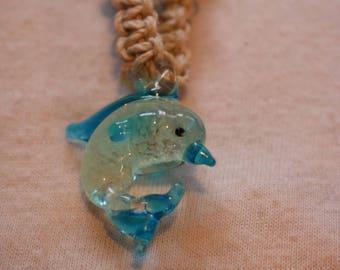 Glass dolphin hemp necklace GLOW in THE DARK