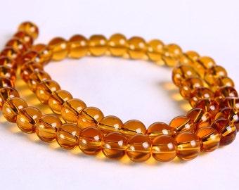 6mm Brown glass beads - Yellow round beads - Pale topaz round glass beads (289)