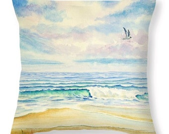 Beach Throw Pillow Cover, Nature, Home Decor, Ocean, Waves, Blue, Green, Violet