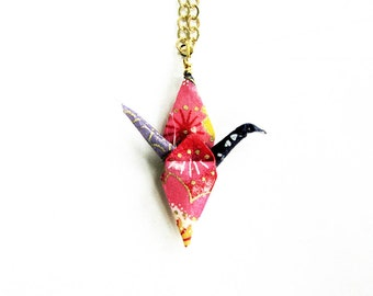 Origami Crane Necklace Joyful Peace Crane Necklace Colorful Blue Pink and Purple
