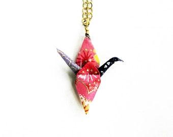 Origami Kranich Halskette frohen Frieden Kran Halskette bunte Blau Pink und lila
