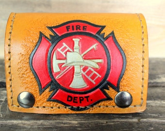 Fireman Gift - Fathers Day Gift for Men - Firefighter Leather Wallet - gift idea for dad - biker wallet - tooled leather wallet