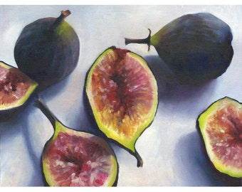 Figs archival fine art giclee print of still life oil painting / Kitchen Wall Art Print / Home Decor / food art / gift for gourmet