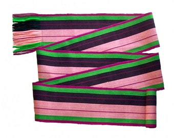 Touch of Pink Sash SA71 - Woven Belt - Guatemalan Fabric - Renaissance Gypsy Clothing - Boho Accessories - Bohemian Belt - Ethnic Sash