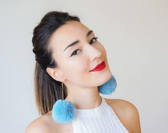 Statement Jewelry Blue Pompom Earrings Long Earrings Gold Earrings Boho Earrings Blue Accessory/ POMPOMA