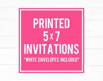 Printed Invitations, PaperTrailPrintables, 5x7 Printed Invitations, United States Only, White Envelopes, Printed Invites