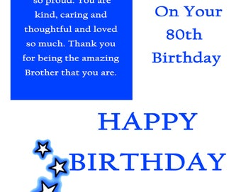 Broter 80 Birthday Card with removable laminate