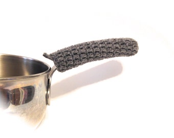 Heather Grey Crocheted Pot Handle Cover