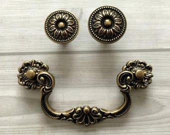 "4"" Vintage Style Drop Bail Drawer Pull Knob Dresser Pulls Handles Knobs Antique Bronze Kitchen Cabinet Handle Swing Lynns Hardware 102 mm"