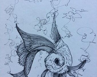 Goldfish Ink Drawing ORIGINAL