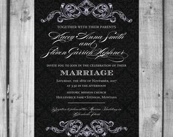 Formal Ornament Script Wedding Invitation
