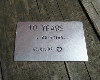 10 Year Aluminium Tin Anniversary Wallet Insert Gift Ten Years and Counting Gifts for MEN Special Dated Personalised Engraved Love FREE POST