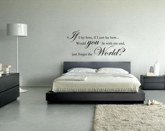 Snow Patrol - If I Lay Here Lyrics - Wall sticker - Contemporary - Vinyl Decal - Love