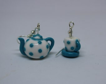 Turquoise Polka Dot Teapot and Teacup Earrings