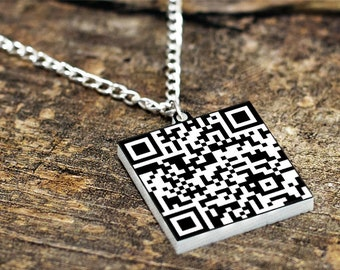 Custom QR Code Necklace // Secret Message Necklace // Engagement Gift // Friendship