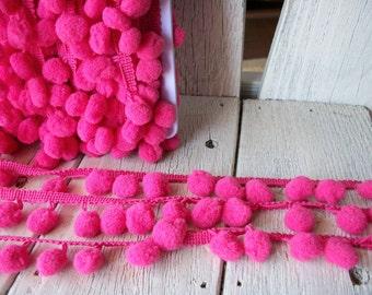 Pom Pom Trim-Rose Pink-2 yards-1/2 inch Ball