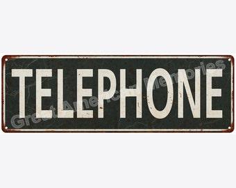 Telephone Distressed Look Metal Sign 6x18 6180611