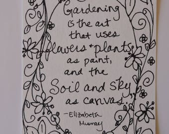Gardening is the Art - Original, One of a Kind Painting Page