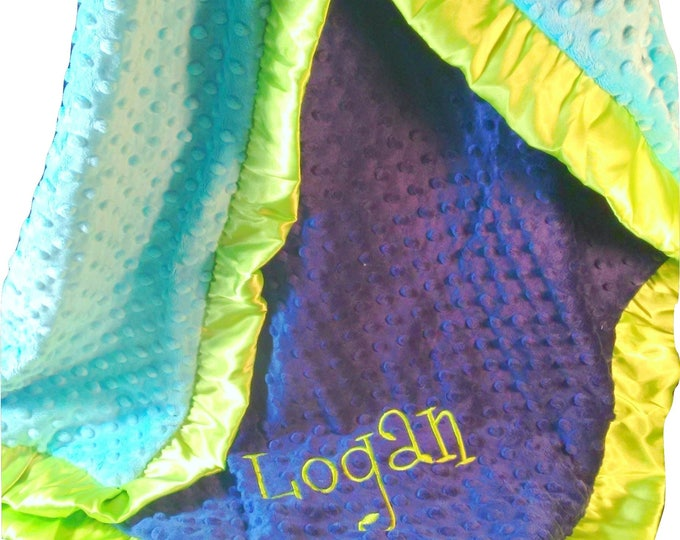Personalized Royal Blue, Lime green, and Turquoise Minky Baby Blanket