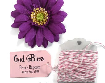 Pink Baptism Tags 20pc - Custom Christening Labels - Light Pink Custom Favors - God Bless Thank You Tags - Baby Girl Confirmation