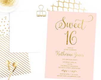 Pink Gold Sweet 16 Invitation Printable, Sweet Sixteen Invitation, 16th Girls Birthday Invitation, Faux Gold Foil Sweet 16 Birthday Invite