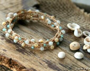 Crochet Beach Bracelet Wrap, Boho Crochet Bracelet, Stacking Bracelet, Stackable Bracelet, Crocheted Bracelet, Gift for Her, Hippie Bracelet