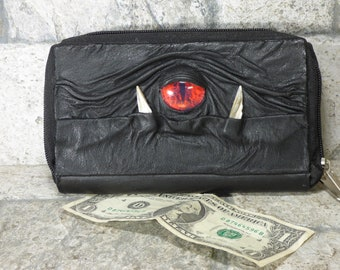 Woman Wallet Clutch With Monster Face Double Zippered Organizer Black Leather 238