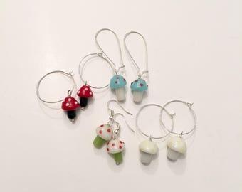 glass toadstool earrings