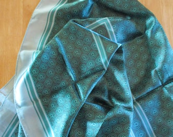 Sophisticated James Daugherty Teal and Deep Gray Geometric Scarf