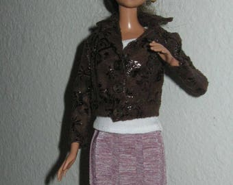 Embossed leather jacket for Barbie