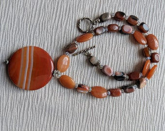 orange necklace, earthy necklace, chunky necklace, agate necklace, carnelian necklace, statement necklace, orange statement necklace
