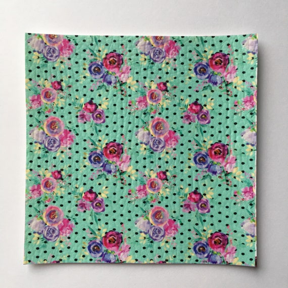 Hand painted Floral Faux Leather Sheet, Vegan Leather Sheets, Floral ...