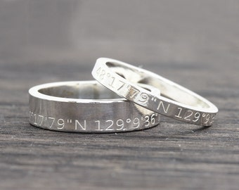 Personalized Latitude Longitude Jewelry, Coordinates Ring,  Latitude Longitude Ring,  Location Ring,  wedding gift, gift for her