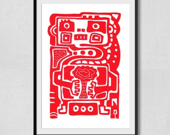 Robot and Nature Linocut Red (210×297mm)