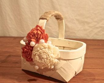 Basket, Cream Basket, Painted Basket, Embellished Basket, Home Decor, Country Home Decor, Fall Home Decor, Country Home Decor