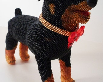 "Pattern / Tutorial Beaded Ornament -Master class to create ""Rottweiler Laura"""